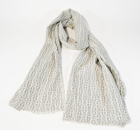 White and Grey Geometric Scarf - edocollection