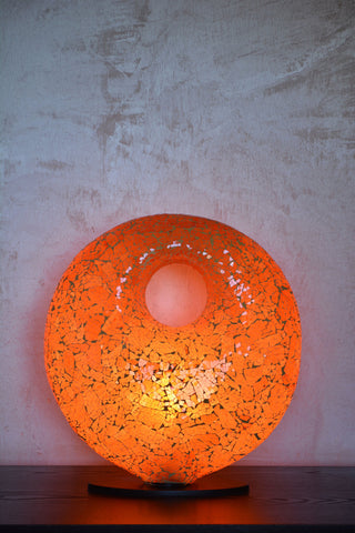 Round Table Lamp Mosaic Glass Orange - edocollection