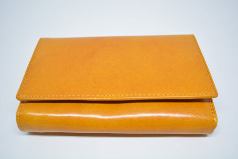Leather Bifold Purse-Mustard - edocollection