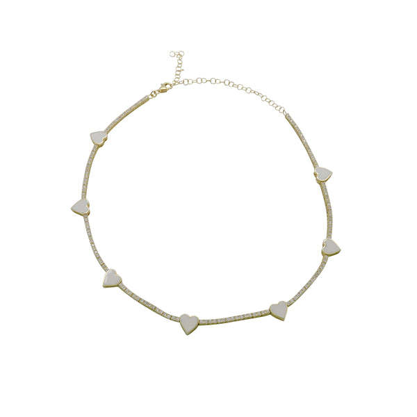 HEART ENAMEL CHOKER NECKLACE