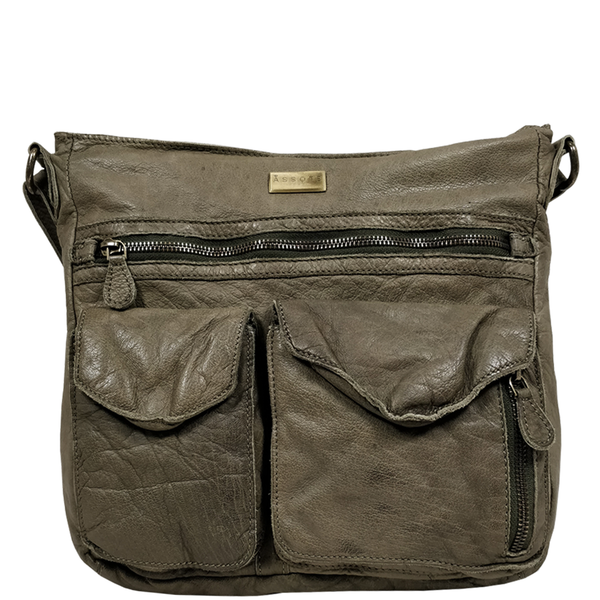 'WYNDRELL' - Olive Washed Vintage Leather Shoulder Bag
