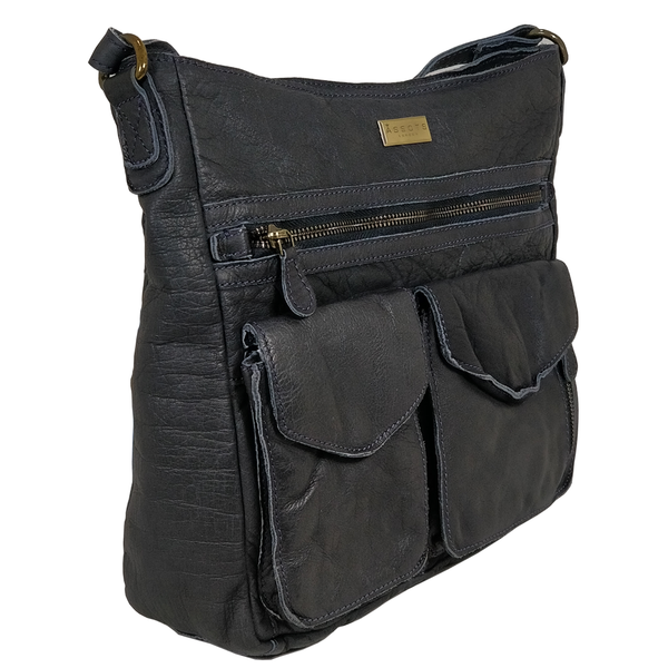 'WYNDRELL' - Navy Washed Vintage Leather Shoulder Bag