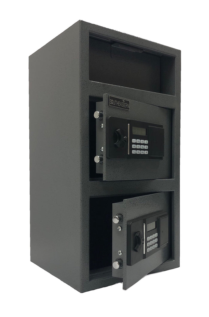 Southeastern F2714EE-V Cash Drop depository safe with quick electronic lock and back up key