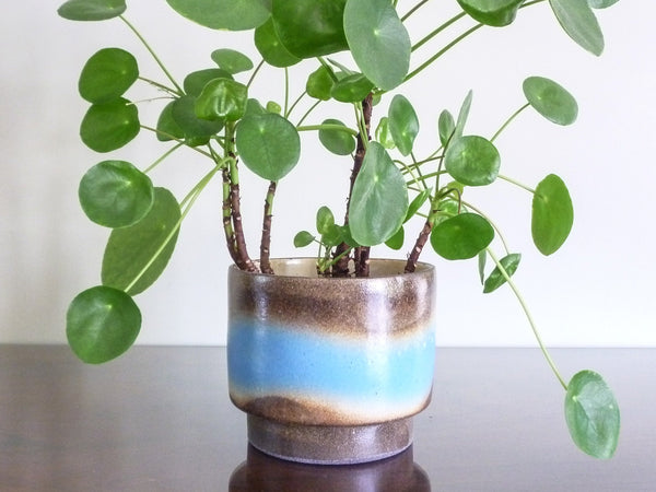 Maritza indoor plant pot, soft blue wave over brown and beige