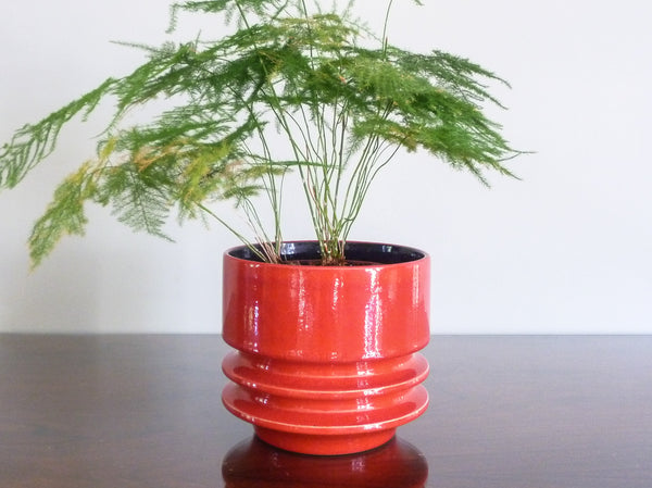 Vintage Fohr indoor plant pot, red