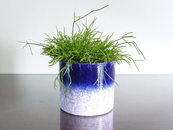Vintage Marei indoor plant pot, dark blue and white crackle decoration