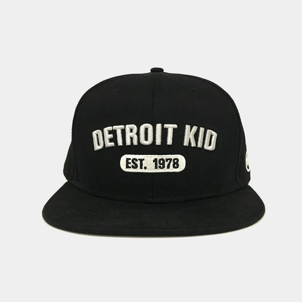 Detroit Kid Black Flat-Bill Hat with Raised Embroidery Logo
