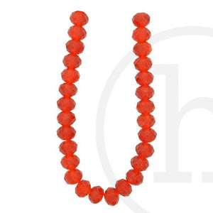 Glass Beads Faceted Rondell Light Red