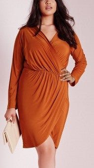 Rust  Wrap Dress - Couture Stalker