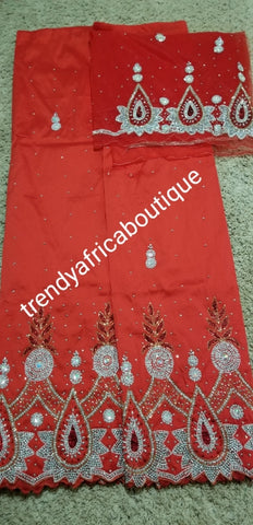 Clearance: RED Nigerian VIP hand stoned silk George wrapper. 5yrd + 1.8yrds matching net blouse. Igbo/Nigerian Wrapper