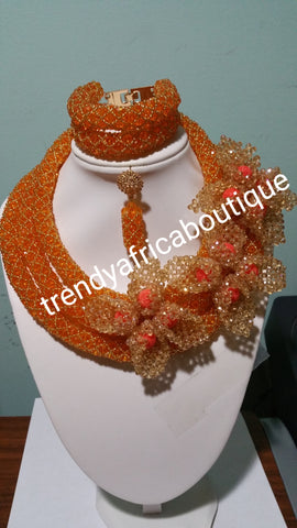 Sale sale: Orange Hand Beaded-necklace set. Nigerian party Coral-necklace set with side flower broach