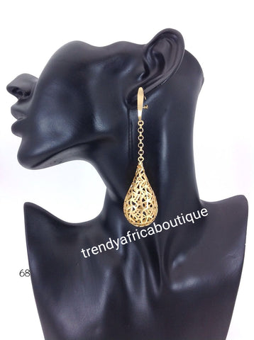 Latest drop-earrings in 18k Gold electrroplating. Top quality made hypoallergenic. Long lasting. Light weight earrings