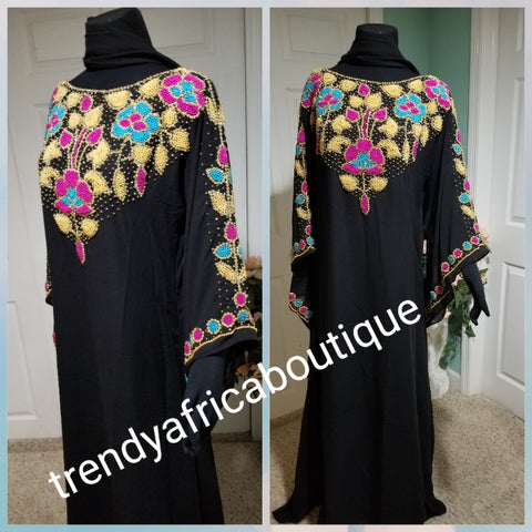 Special price offer, Black dubai kaftan  free flowing  boubou. Multi color Beaded and stonesd to perfection. Quality bead work. Availablein size, S,M,L,XL and XXL.. Chiffon kaftan With head tie. 60' long