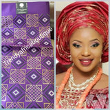 "Purple/gold Nigerian Gele/headtie fabric for Traditional Head wrap. Regular size Gele 72""x36. One in a pack."