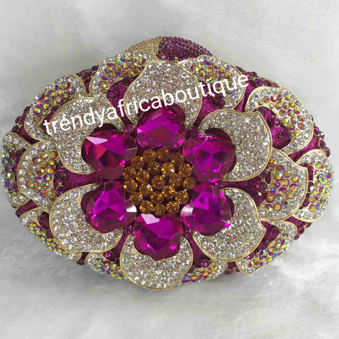 Sale Quality magenta/gold  evening hand clutch. Crystal Clutch/purse. All over dazzling crystal stones. Magenta crystal stones