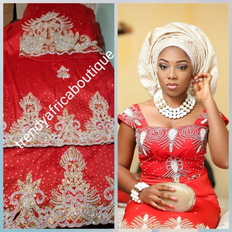 Sale sale; Red taffeta George for Nigerian Traditional wedding wrapper/outfit. Embellished with Beads and crystal stones 2.5yds + 2.5yds + 1.8 matching net blouse. Igbo/delta bride outfit.  Small-George. Ideal for bride 1st outing dress