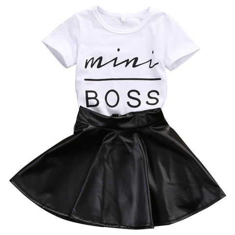 Toddler Girls Mini Boss T-shirt Tops + Leather Skirt 2PCS Outfit - Debbie's Boutique