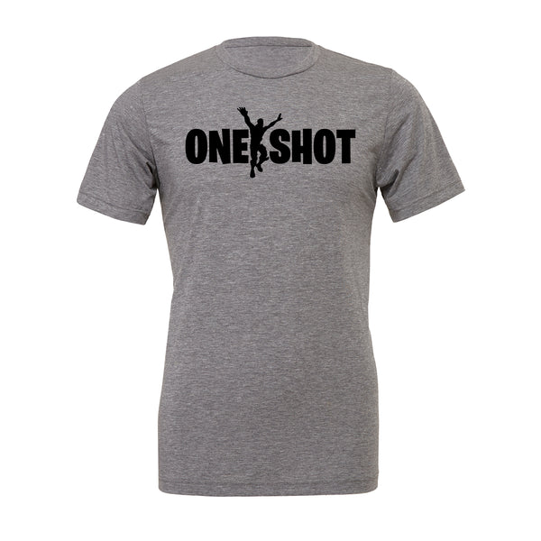 One Shot Fortnite Tee. Show off your love for Fortnite battle royal with these customizable tees. Whether your favorite Fortnite move is Flossin or Breakin we have you covered! Choose your tee color, size, art, and your art color to make this epic tee yours today.