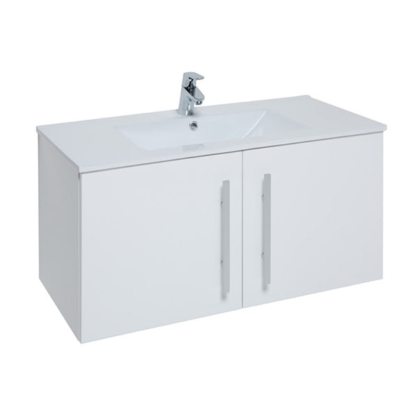 Pure 900mm Wall Mounted 2 Door Bathroom Vanity Unit and Basin - White