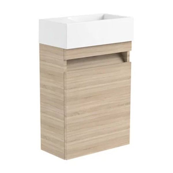 Inspired 400mm Wall Mounted Cloakroom 1 Door Bathroom Vanity Unit and Basin - Left Hand Natural Oak