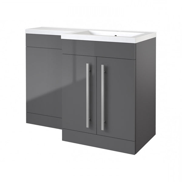 Live 1100mm 2 Door L-Shaped Bathroom Vanity Unit, Basin and WC Toilet Unit - Grey Gloss RH
