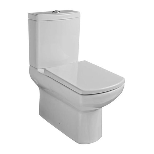 Aspire Close Coupled Back To Wall WC Toilet Pan, Close Coupled Dual Flush Cistern and Soft Close Toilet Seat