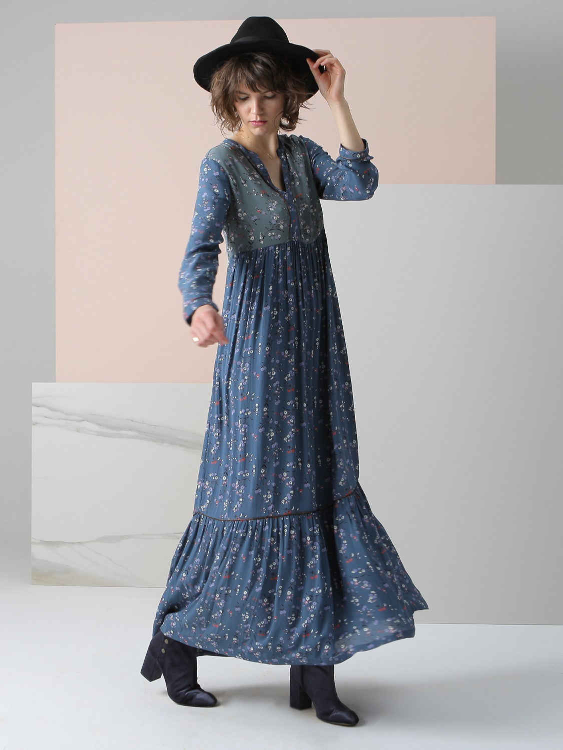 Indi & Cold | Long Patchwork Dress