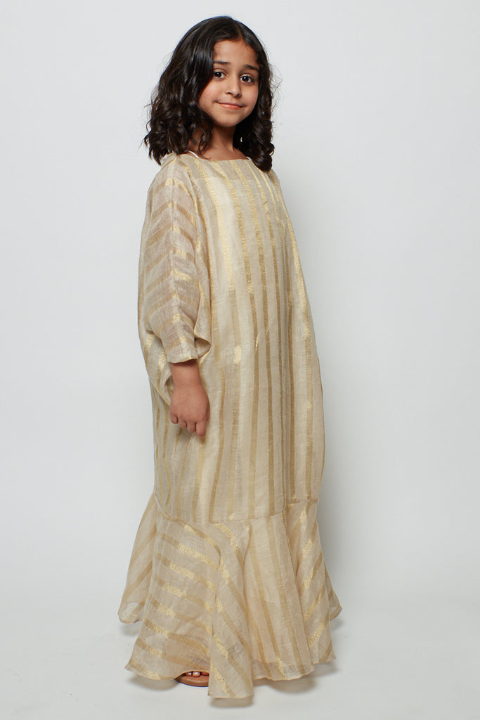 Striped Gold Metallic Linen Kaftan Mariposa Silhouette with Flairy Bottom