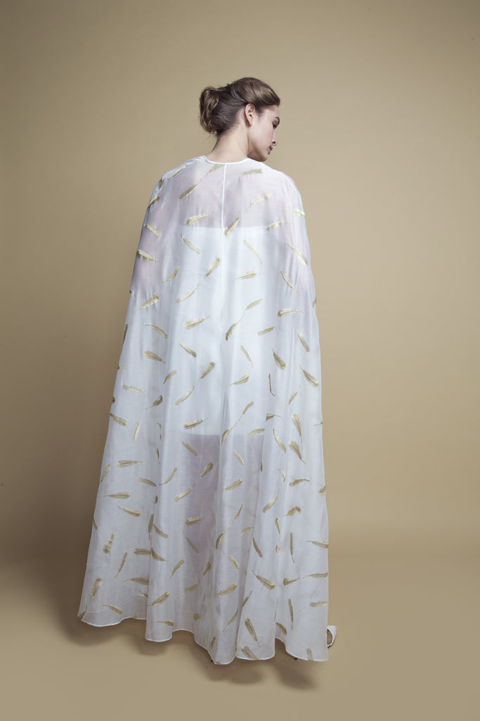Slit-Sides Feather-Embroidered Bisht