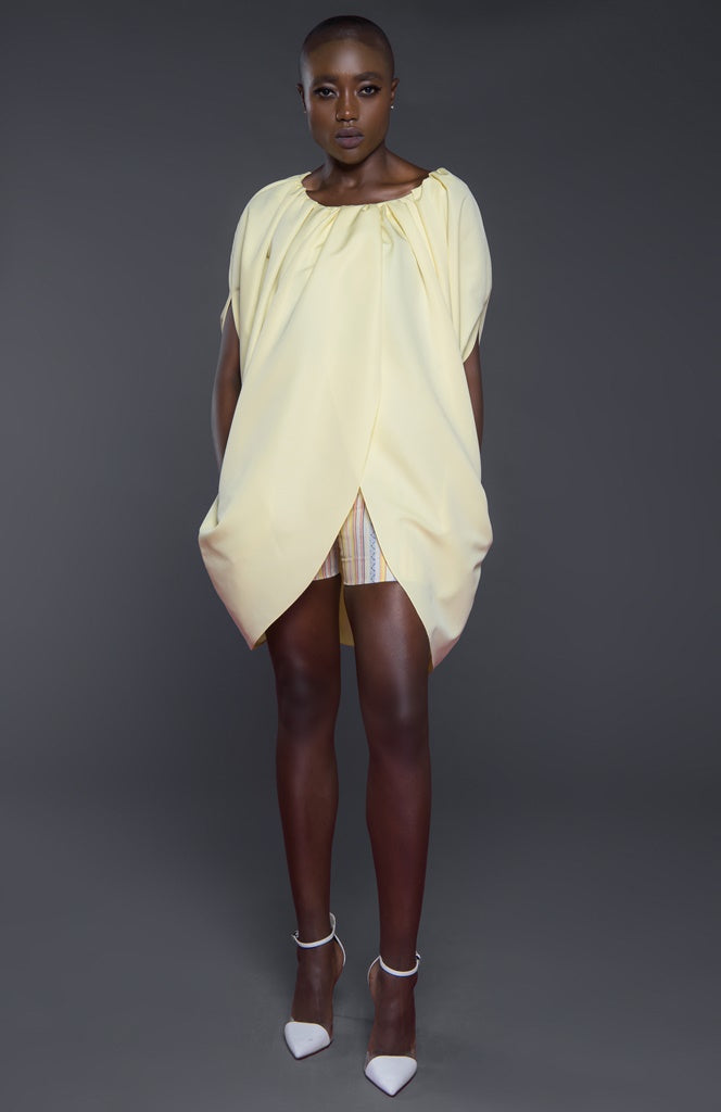 Overlapping front oversized petal style top with Cape sleeves
