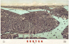 Vintage 19th Century Aerial City Map Posters