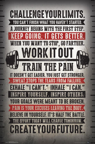 "Fitness Gym Motivational ""Challenge Your Limits"" Inspirational Quotes Wall Poster - Trends Int'l."