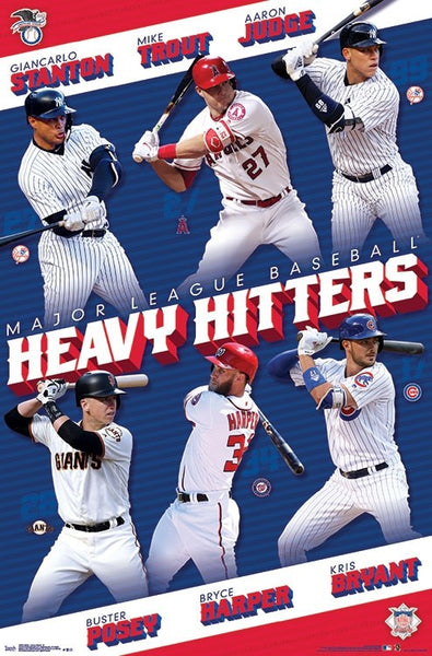 "MLB Baseball ""Heavy Hitters"" 2018 Poster (Stanton, Judge, Trout, Posey, Harper, Bryant) - Trends Int'l."