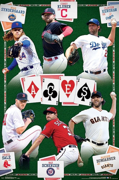 MLB Baseball Pitching Aces Superstars Poster (Syndergaard, Kluber, Kershaw, Sale, Scherzer, Bumgarner) - Trends 2018