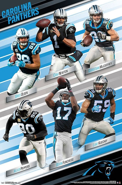 "Carolina Panthers ""Super Six"" Poster (Newton, Kuechly, McCaffrey, Olsen, Peppers, Funchess) - Trends International 2018"