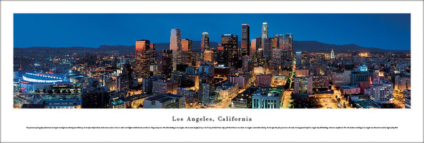 Los Angeles, California Downtown Skyline Panoramic Poster Print - Blakeway