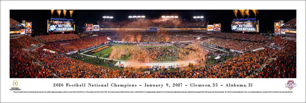 Clemson Tigers 2016 NCAA Football National Champions Panoramic Poster Print - Blakeway