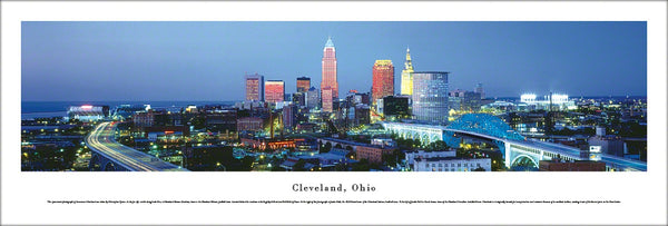 Cleveland, Ohio Downtown Skyline Panoramic Poster Print - Blakeway Worldwide