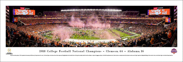 Clemson Tigers 2018 NCAA Football National Champions Panoramic Poster Print - Blakeway Worldwide