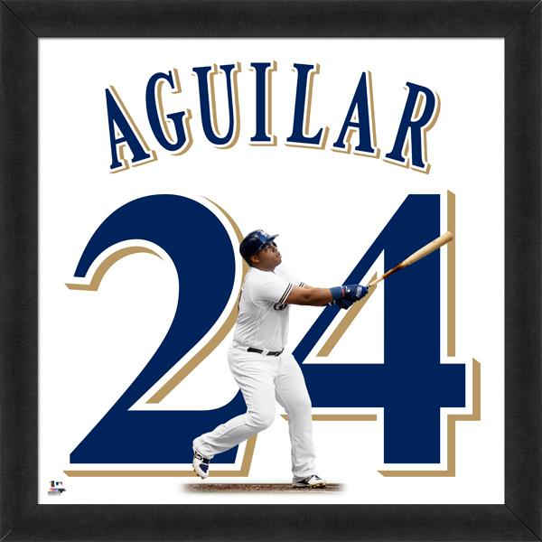 "Jesus Aguilar ""Number 24"" Milwaukee Brewers FRAMED 20x20 UNIFRAME PRINT - Photofile"