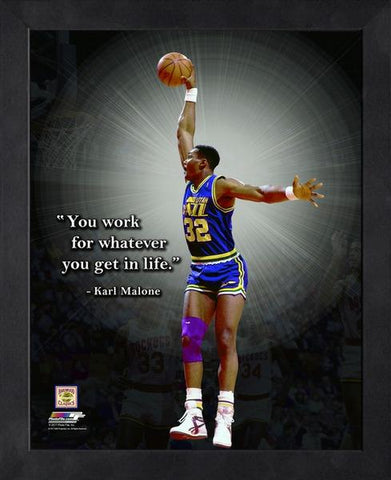 "Karl Malone ""Work For It"" Utah Jazz FRAMED 16x20 PRO QUOTES PRINT - Photofile"