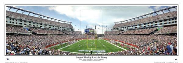 "New England Patriots ""Longest Winning Streak"" Gillette Stadium Panoramic Poster Print - Everlasting Images 2004"