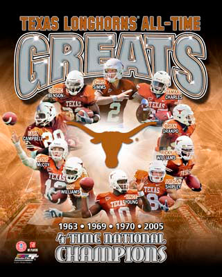 Texas Longhorns Football All-Time Greats (10 Legends, 4 Championships) Premium Poster Print - Photofile