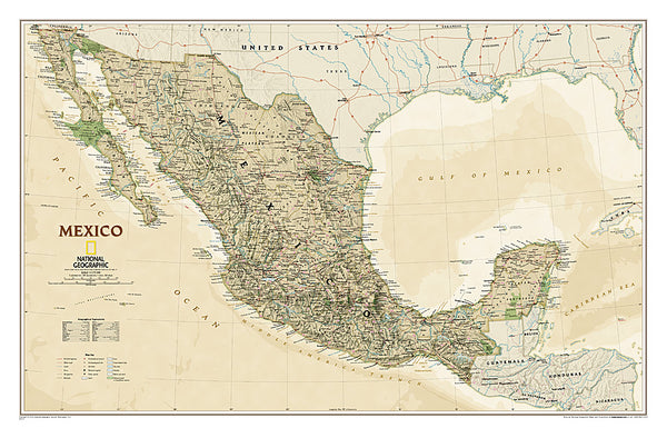 Map of MEXICO National Geographic Executive Edition 23x35 Wall Map Poster - NG Maps