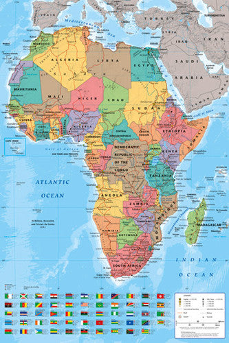 Map of Africa Wall Chart Poster - GB Eye