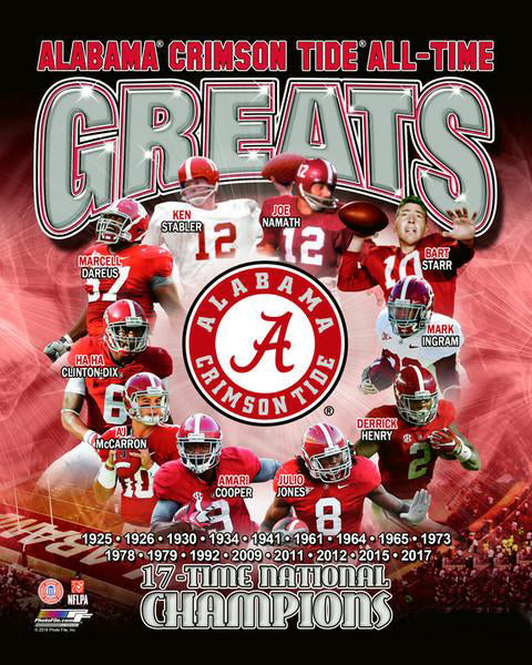 Alabama Football All-Time Greats (10 Legends, 17 Championships) Premium Poster Print - Photofile Inc.