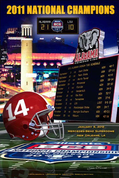 Alabama Crimson Tide 2011 NCAA Football BCS National Champions Poster - Action Images