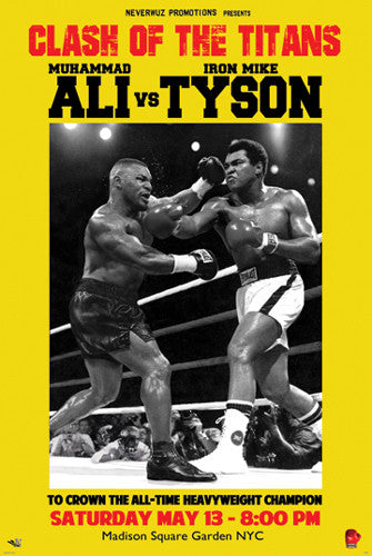 "Fantasy Fight Poster: MUHAMMAD ALI vs. MIKE TYSON ""Clash of the Titans"" Heavyweight Championship"