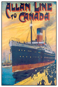 Allan Line to Canada (c.1905) Vintage Travel Poster Reprint