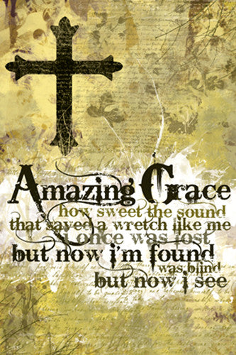Amazing Grace Christian Hymn Lyrics Inspirational Wall Poster - Slingshot Publishing